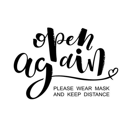 Open again isolated lettering vector words sticker