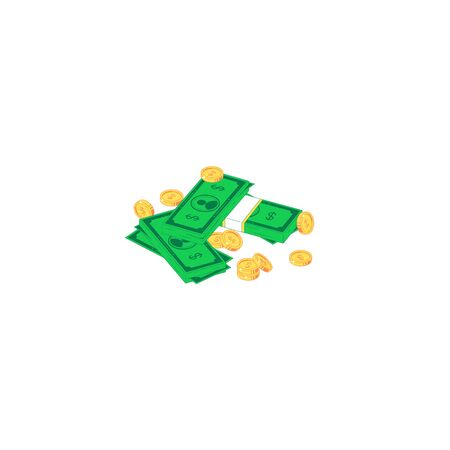 Isometric money heap. Vector illustration of stack of green banknotes and golden coins isolated on white backround. Flat currency for investment and savings concept