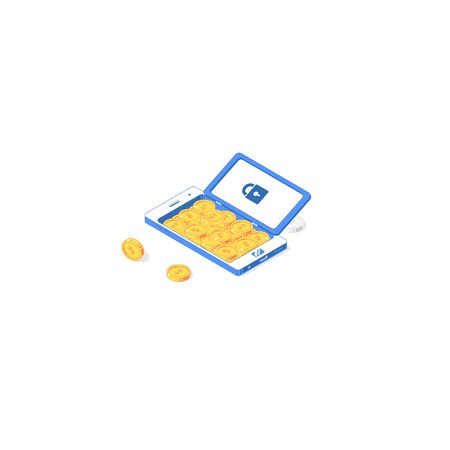 Isometric security mobile application. Vector illustration of golden coins with phone isolated on white background. Flat app design of safety, investment and economy with network technology concept