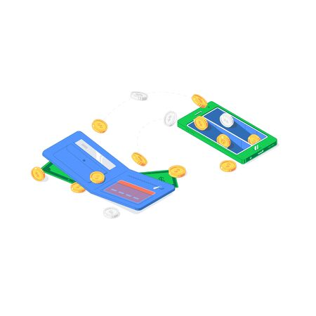 Isometric currency transfer between purses. Vector illustration of soaring gold and silver coins, notes, bank cards and wallets isolated on white background. Flat cash of exchange, investment and payment concept