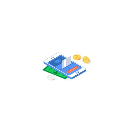 Isometric electronic commerce network application. Vector illustration of banknotes, card, golden and silver coins with phone, interface and button isolated on white background. Flat design payment app concept
