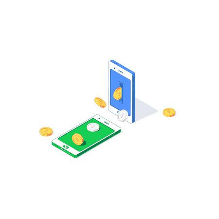 Isometric mobile money transfer vector illustration. Flying golden and silver coins between phones isolated on white background. Flat cash flow, trade, exchange and payment concept