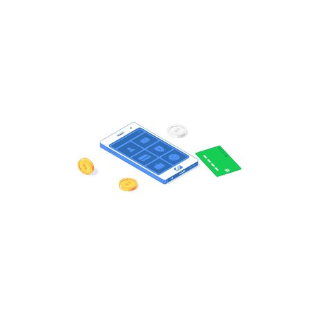 Isometric online payment mobile application. Vector illustration of banknotes, golden and silver coins with phone, interface and button isolated on white background. Flat design smartphone commerce app concept
