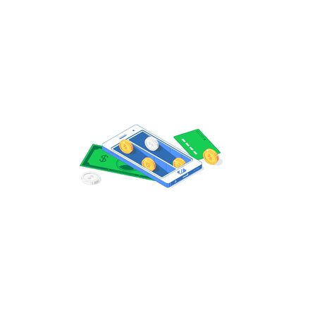 Isometric balance mobile application. Vector illustration of golden and silver coins with phone, banknote, and card isolated on white background. Flat app design of investment and cash flow concept Stock Illustratie