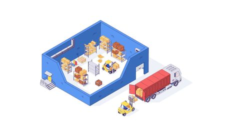 Isometric warehouse container package pallet forklift factory. Delivery transportation goods vector illustration. Boxes forklifts pallets in cargo isolated on white background. 3d logistic depot