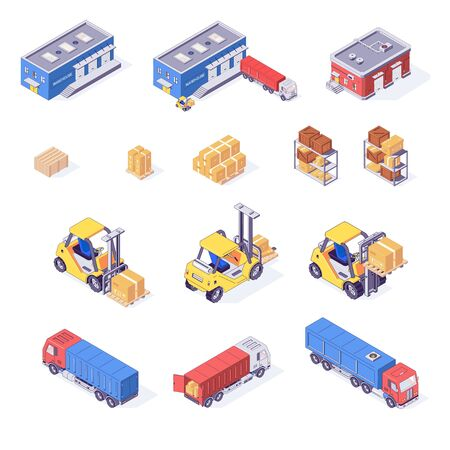 Warehouse isometric set of boxes pallets cargo goods trucks forklifts and racks isolated vector illustration. Storage box pallet forklift truck inventory shelf freight. Delivery industry concept