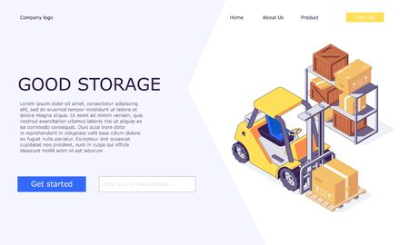Isometric logistic warehouse boxes trucks forklifts goods and invertory for delivery web template vector illustration. 3d box truck forklift goods and warehousing templates design