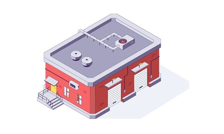 Isometric warehouse storage storehouse building. Delivery shipping logistic depot and interior vector illustration. Ware house shipping build isolated on white background. 3d logistic store house