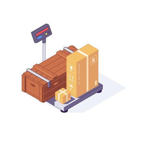 Isometric warehouse wooden and carton boxes freights goods packages on scales. 3d box scale vector illustration. Ware house wood box equipment isolated on white background. Flat concept