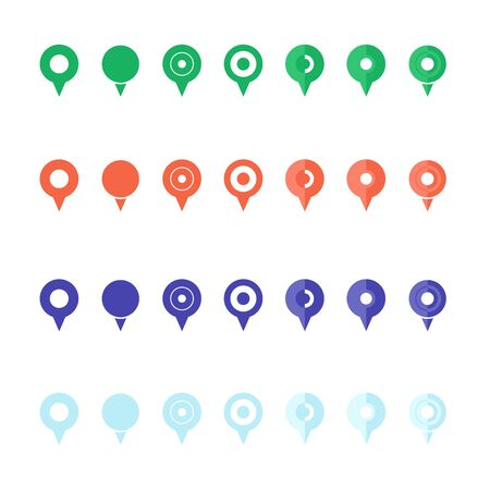 Pins for maps, location symbol, navigation position marker and travel place direction pointer web vector illustration. Set of pins markers signs pointers symbols for map isolated on white background