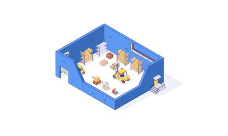 Isometric warehouse storehouse package pallet forklift factory. Delivery transportation goods vector illustration. Boxes forklifts pallets in cargo isolated on white background. 3d logistic depot