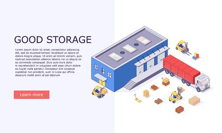 Isometric logistic warehouse invertory boxes trucks forklifts goods and delivery storage banner vector illustration. 3d box truck forklift goods and warehousing banners design concept Vecteurs