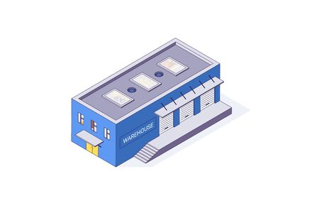 Isometric warehouse storage storehouse building. Delivery shipping depot and interior vector illustration ware housing shipping build isolated on white background. 3d logistic store house