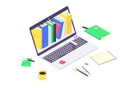 Isometric online education study and teaching concept, computer learn and book library flat design vector illustration. 3d educations studying and teach flat design isolated on white background
