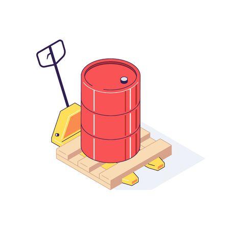 Isometric truck pallet with barrels. Ilustração