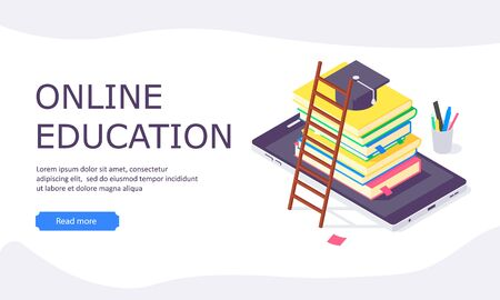 Isometric online education study web template computer learn and book library flat design vector illustration. 3d educations studying teach flat internet design templates isolated on white background Ilustrace