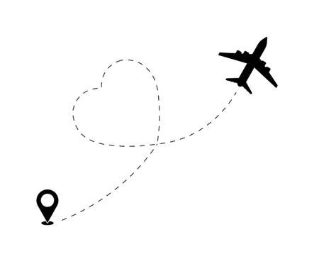 Path flight love travel plane loving trip and airplane romantic air valentine symbol vector illustration. Heart airplane path, flight airline dotted valentines day drawing isolated vector illustration Ilustrace