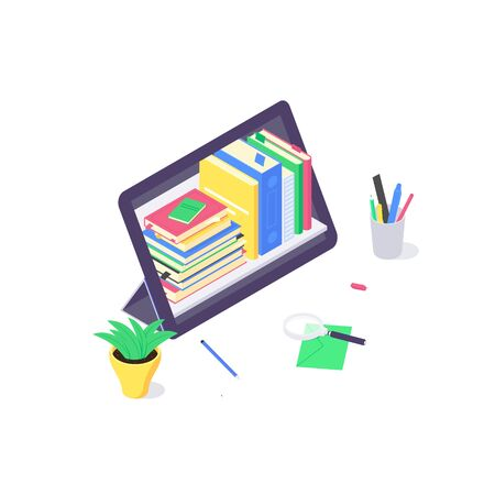 Isometric online technology education web study and laptop learn and book library flat design vector illustration. 3d educations studying and teaching concept isolated on white background Ilustrace