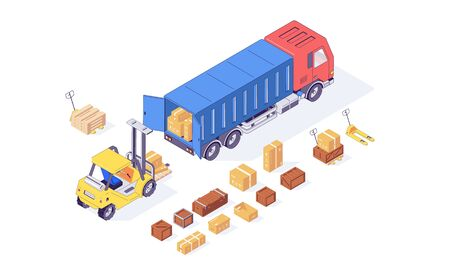 Isometric box cargo forklift truck pallet and forklift goods loading. Delivery and load vector illustration. Boxes forklifts pallets trucks isolated on white background. 3d logistic concept