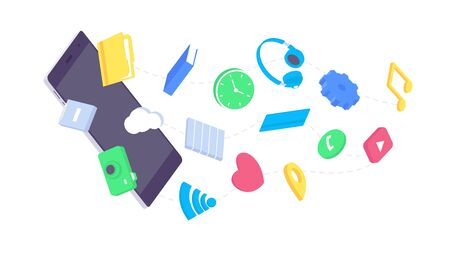 Isometric mobile app flat application design user digital interface device icon smartphone content vector illustration. 3d ui applications phones interfaces display symbol isolated on white background