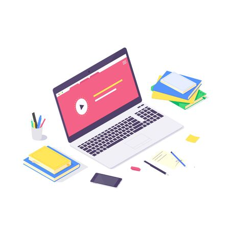 Isometric online education study and teaching concept, technology learn and tutorial network design vector illustration. 3d educations studying and teach flat design isolated on white background