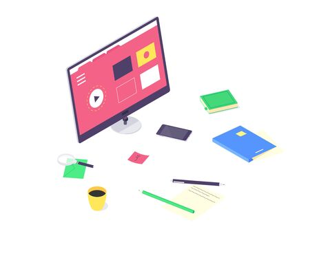 Isometric online education study and technology training computer learn and book library flat design vector illustration. 3d educations studying and teaching concept isolated on white background