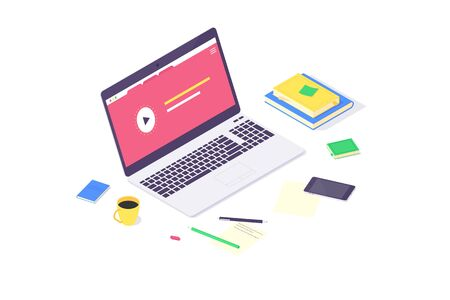 Isometric online education study and laptop knowledge design flat computer learn and book library vector illustration