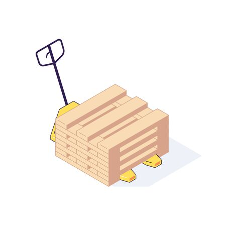 Isometric warehouse transport pallets equipment load. 3d storage pallets shelving racking stacking vector illustration. Flat ware house load pallet isolated on white background. Logistic design