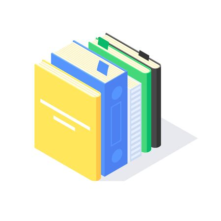 Isometric book university teaching and knowledge learn library flat icon symbol vector illustration. Stack of books studying educations symbols learning design concept isolated on white background