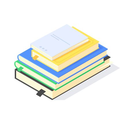 Isometric book study school education knowledge learn library flat icon symbol vector illustration. 3d books studying educations symbols learning design concept isolated on white background Ilustrace