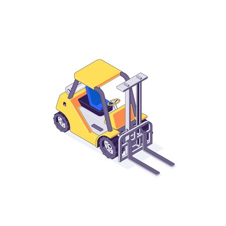 Isometric warehouse forklift loader and vehicle. Truck delivery and transportaion industry vector illustration. Forklifts vehicles trucks isolated on white background. 3d logistric design concept