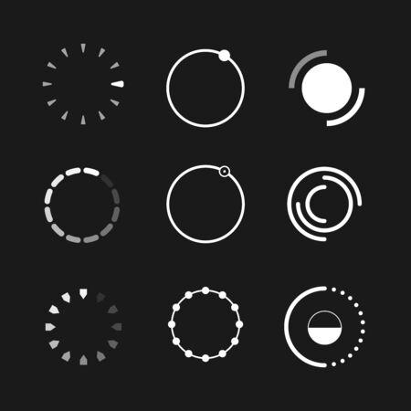 Web progress loader interface load icon upload sign circle symbol internet element network shape vector illustration. Set of loaders icons circles signs website symbols isolated on black background Ilustrace