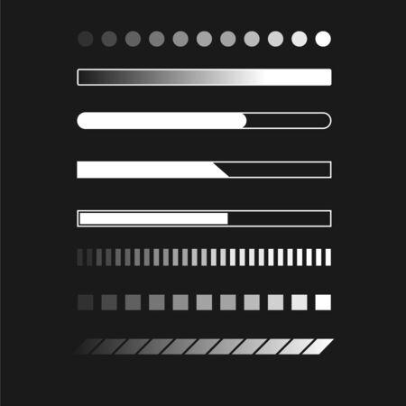 Web progress loader interface load data upload sign digital symbol download buffer indication shape vector illustration. Set of loaders downloading signs process symbols isolated on white background Ilustrace