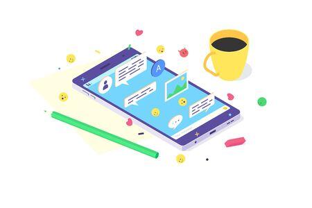 Isometric mobile phone technology design smartphone internet social app screen icon digital flat vector illustration Ilustrace
