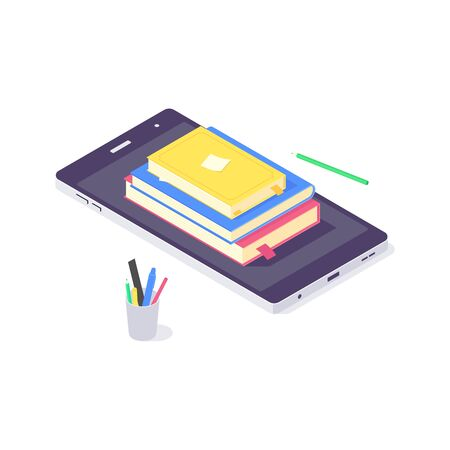 Isometric education online study knowledge design web learning and book web library vector illustration