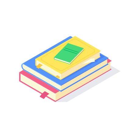 Isometric dictionary education science study university teaching learn knowledge vector illustration