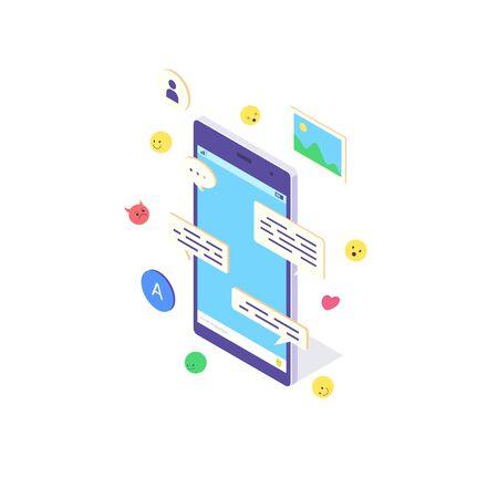 Isometric mobile phone internet concept smartphone online social media communication sms flat vector illustration