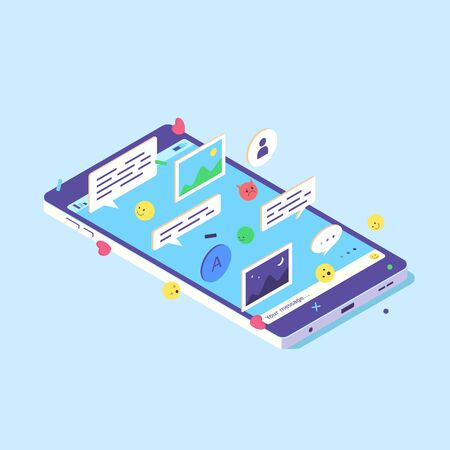 Isometric mobile phone screen design smartphone online app digital speech web icon digital flat vector illustration. 3d concept phones network sms icons smartphones text isolated on blue background Ilustrace