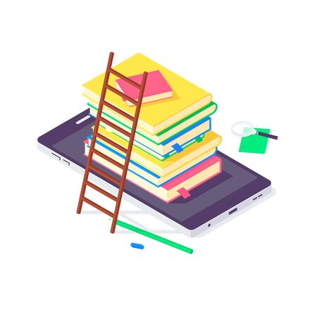 Isometric book university and school education science study universities teaching learn knowledge vector illustration. Stack of books studying textbooks laptop concept isolated on white background