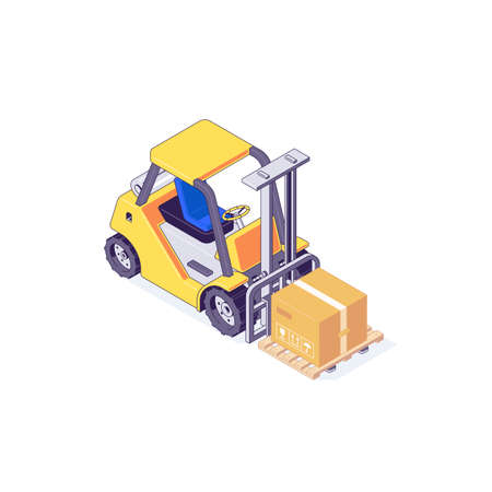Isometric warehouse forklift pallet box and loader. Truck delivery and transportaion industry vector illustration Ilustrace
