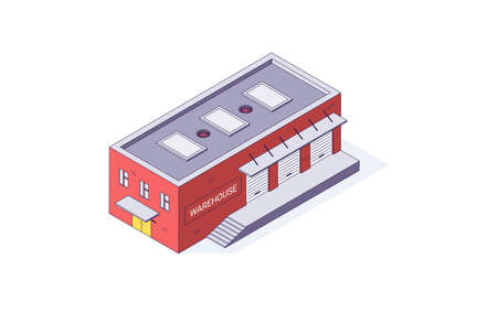 Isometric warehouse storage storehouse building. Delivery shipping depot and interior vector illustration