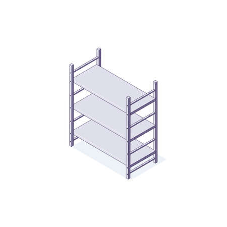 Isometric warehouse equipment rack shelf interior. 3d logistic racking interiors and stacking vector illustration Ilustrace