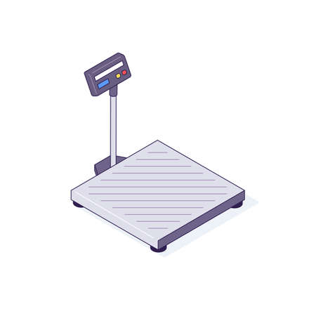 Isometric scales for boxes pallets packages freights goods. Weigher for balance box pallet package vector illustration