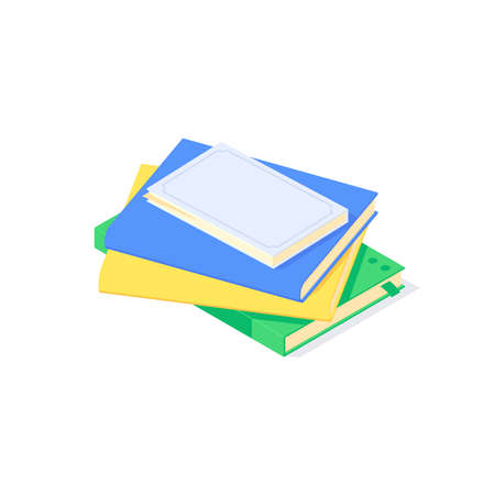 Isometric book school teaching and education knowledge learn library flat icon symbol vector illustration Ilustrace