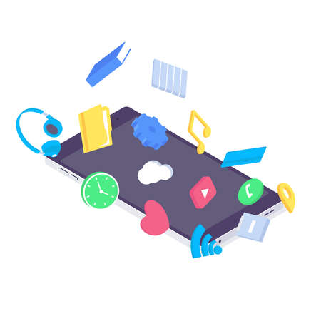 Isometric mobile app flat application design user interface device icon smartphone screen vector illustration