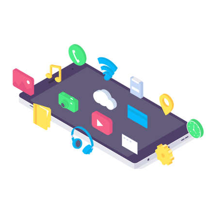 Isometric mobile app flat application design media interface device icon gadget wireframe template vector illustration