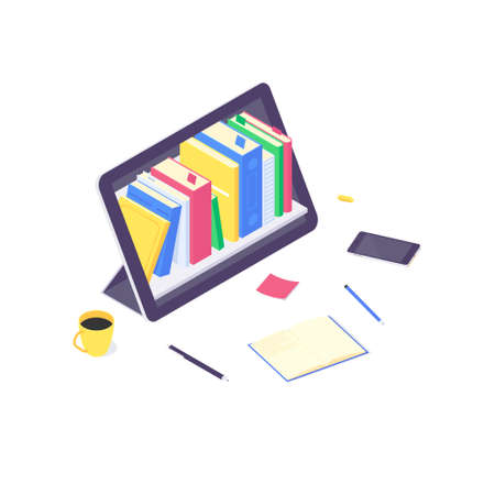 Isometric online education study and technology training computer learn and book library flat design vector illustration Ilustrace