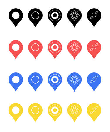 Pins for map, location symbol, navigation position marker and travel place pointer web vector illustration