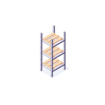 Isometric warehouse equipment rack pallets and shelf. 3d pallets racking shelving and stacking vector illustration