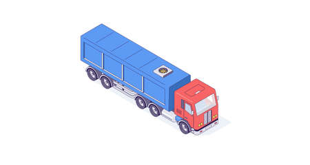 Isometric truck cargo transport auto and vehicle. Transportation delivery and shipping car vector illustration Ilustrace